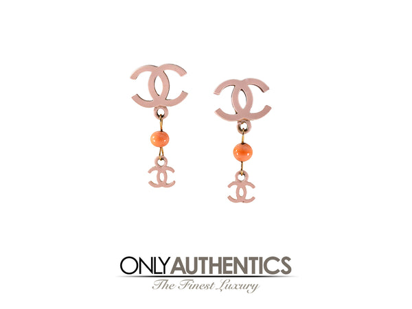 Chanel CC Pink Drop Earrings