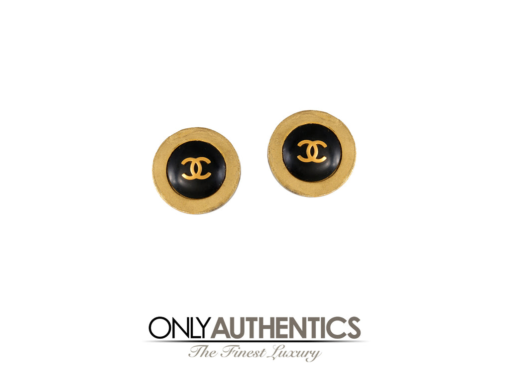 Chanel Black CC Button Earrings with Gold Surround