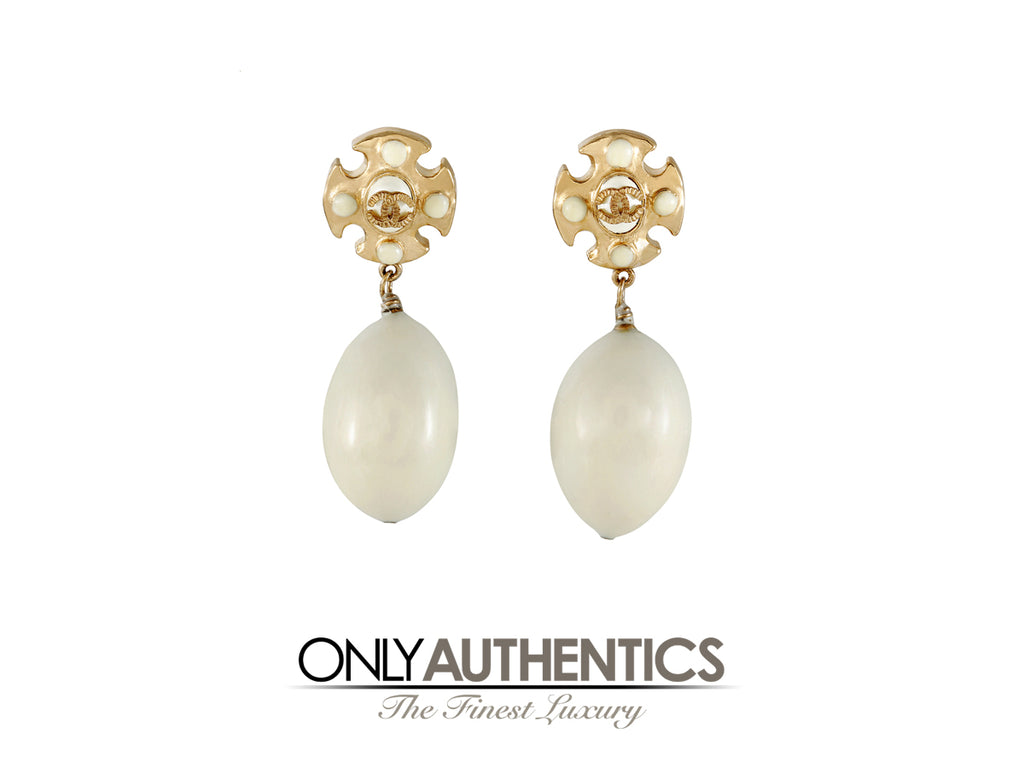 Chanel Maltese Cross Pearl Drop Earrings