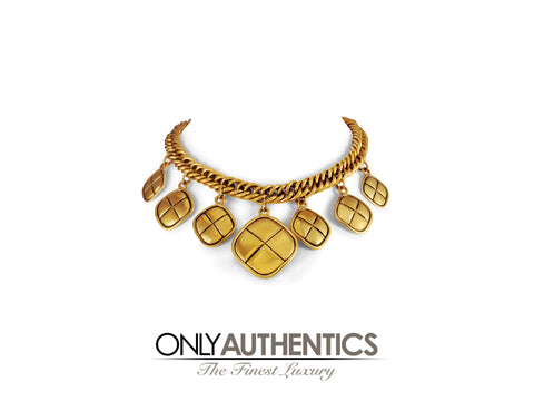 Chanel Gold Diamond Charm Vintage Choker