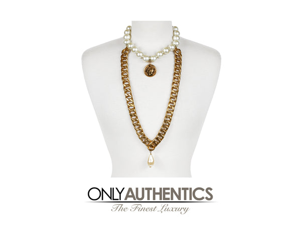 Chanel Pearl Choker with Draped Chain