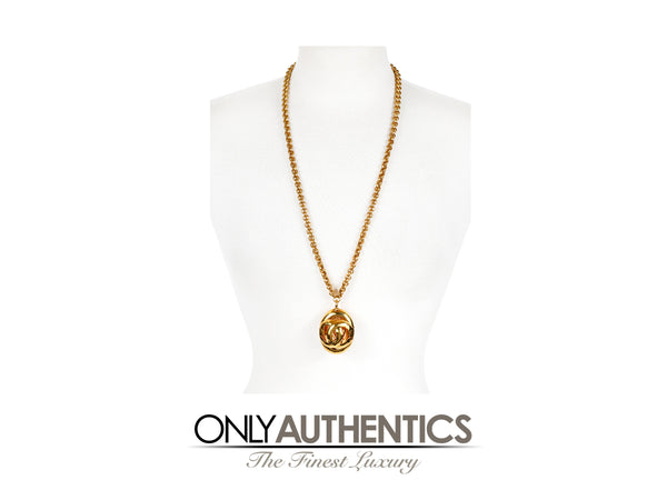 Chanel Gold CC Oval Pendant Necklace