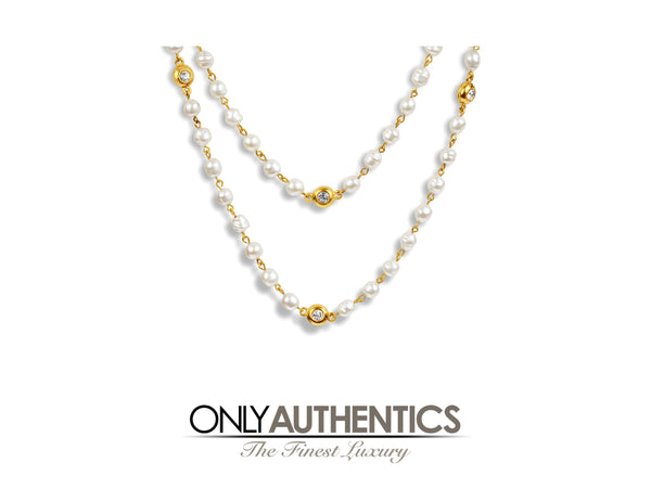 Chanel Pearl and Gold Extra Long Necklace