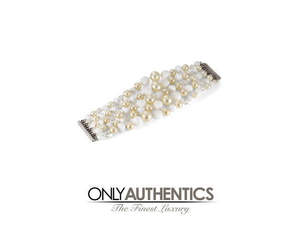 Chanel Five Strand Pearl Beaded Bracelet