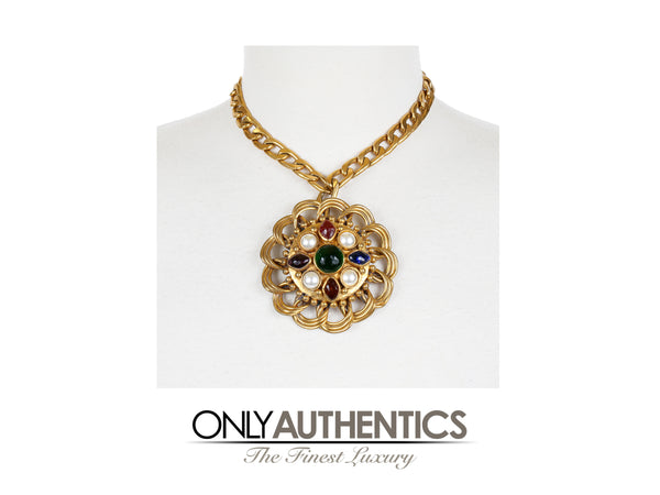 Chanel Gripoix and Pearl Flower Medallion Necklace