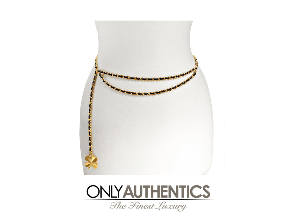 Chanel Black Leather Gold Chain Clover Belt Necklace