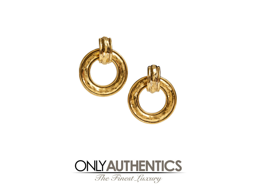Chanel Gold Hammered Hoop Clip On Earrings