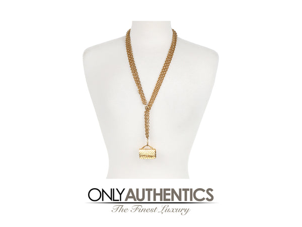 Chanel Gold Flap Bag Pendant Triple Chain Necklace