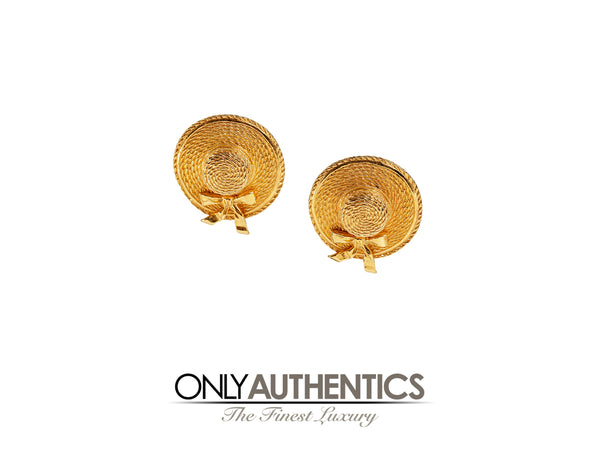 Chanel Gold Straw Hat Earrings