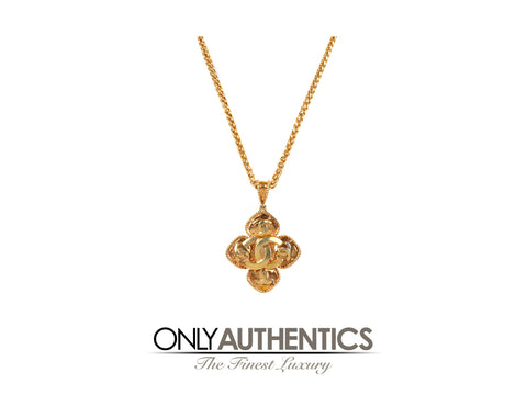 Chanel Gold CC Clover Medallion Necklace
