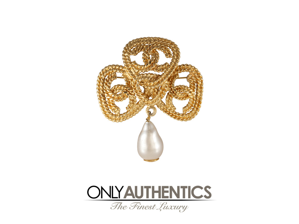 Chanel Gold CC Pearl Drop Pin