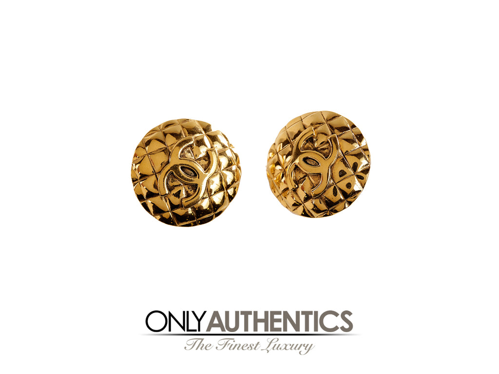 Chanel Gold Quilted CC Clip On Earrings