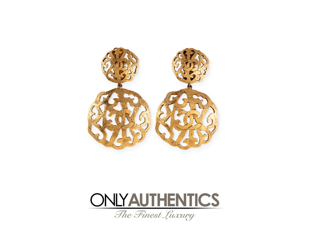 Chanel Gold CC Laser Cut Circle Earrings