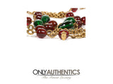 Chanel Red and Green Gripoix Gold Twist Chain