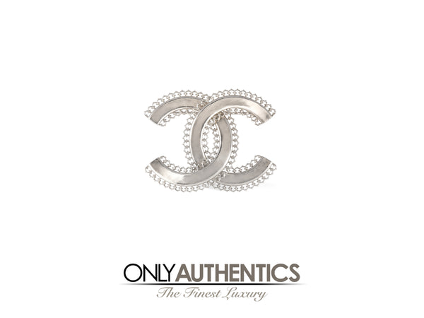 Chanel Silver Large CC Pin