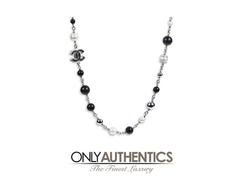 Chanel Black and White Pearl Long Necklace