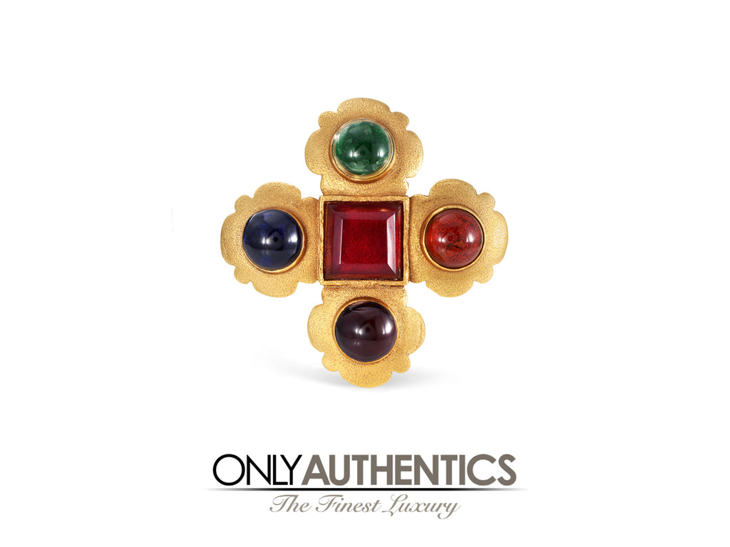 Chanel Multicolor Cabochon Gripoix Brooch