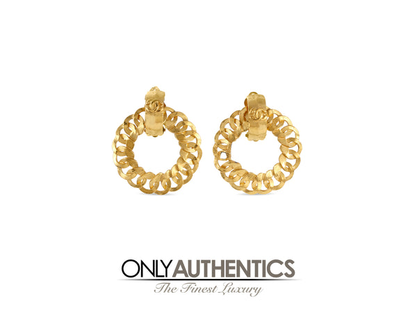 Chanel Gold Open Hoop Earrings