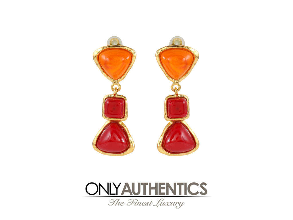 Chanel Orange and Red Gripoix Dangle Earrings