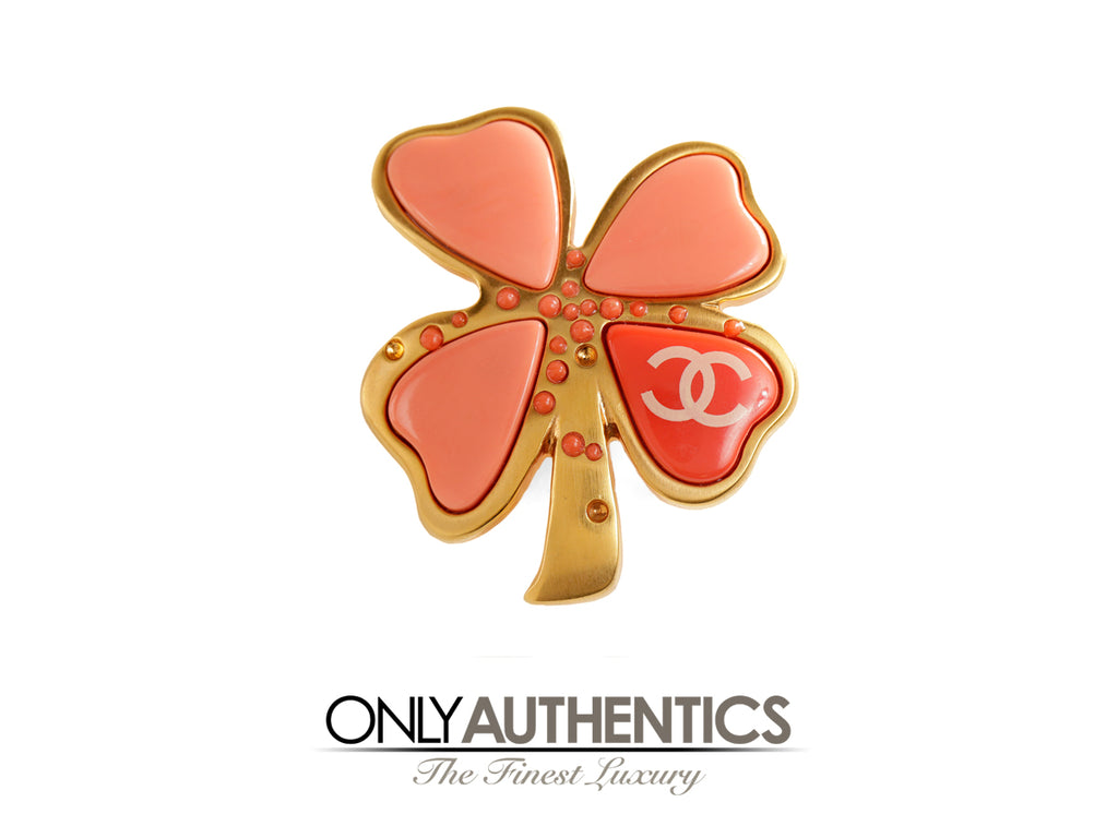 Chanel Peach Gripoix Clover Pin