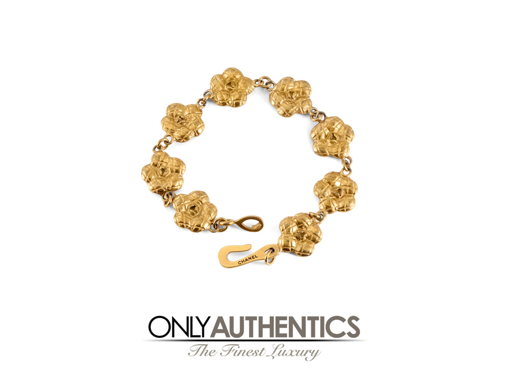 Chanel Gold Camellia Flower Bracelet