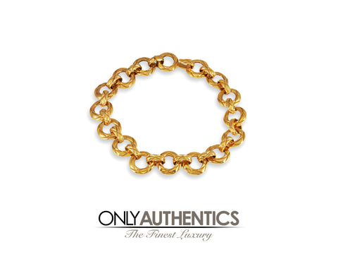 Chanel Gold Quilted Ring Vintage Choker