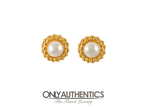 Chanel Pearl with Raised Dot Earrings