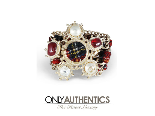 Chanel Red Tartan Embellished Cuff