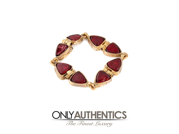 Chanel Red Gripoix and Gold Vintage Bracelet