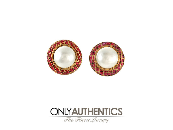 Chanel Pearl and Red Gripoix Lattice Earrings