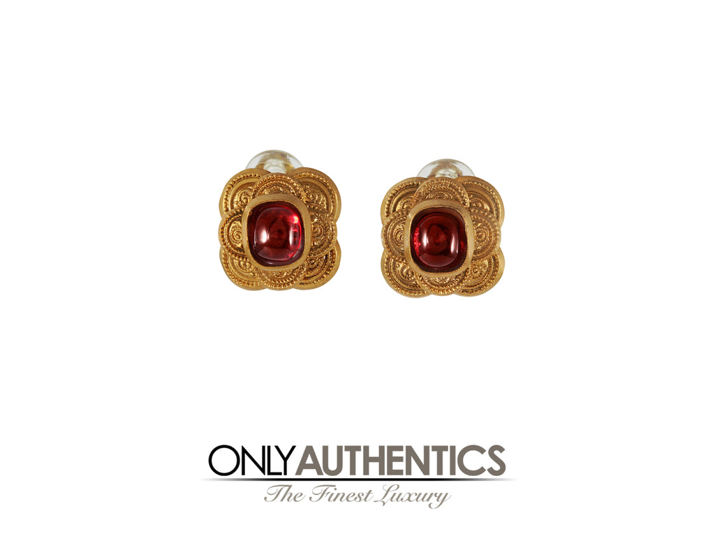 Chanel Red Gripoix Earrings
