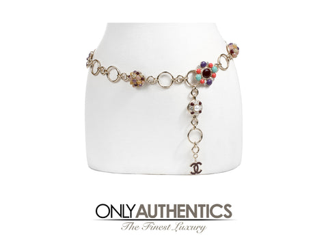 Chanel Gripoix Multicolor Floral Chain Belt