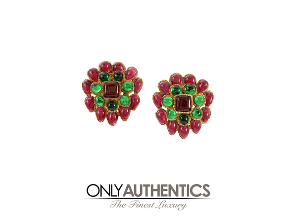 Chanel Red and Green Gripoix Cluster Earrings