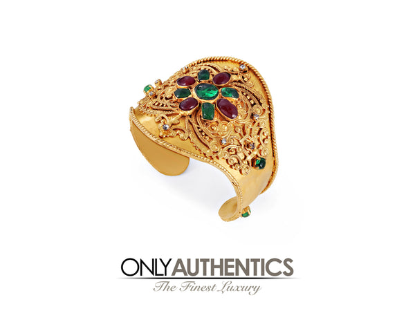 Chanel Red and Green Gripoix Ornate Gold Cuff