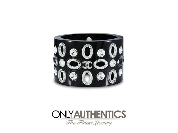 Chanel Black Resin and Crystal Hinged Cuff