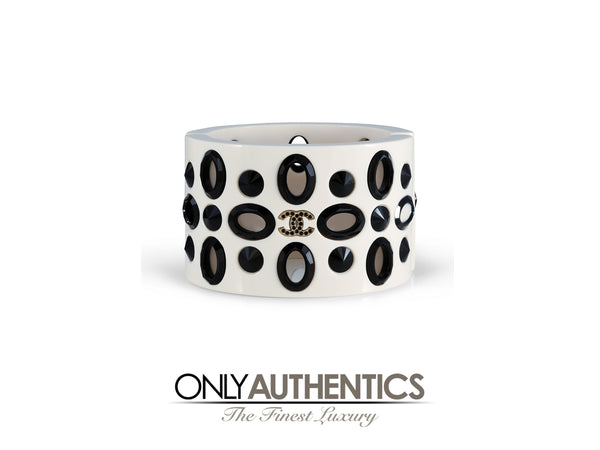 Chanel White Resin and Crystal Hinged Cuff