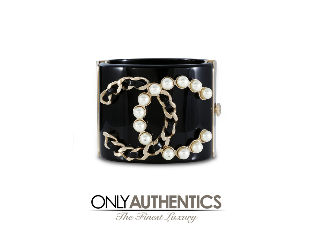 Chanel Black Resin and Pearl CC Cuff