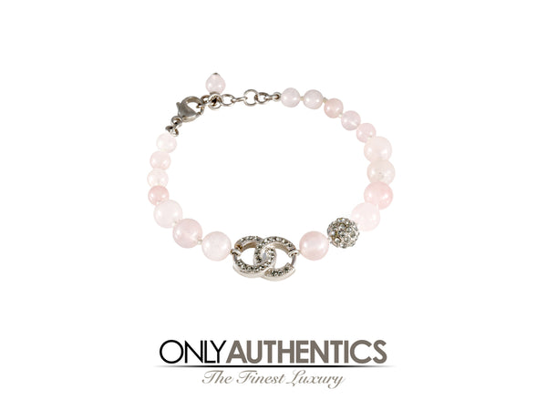Chanel Rose Quartz CC Beaded Bracelet