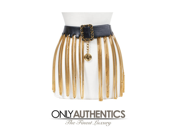 Chanel Black Leather Dripping Chains Runway Belt