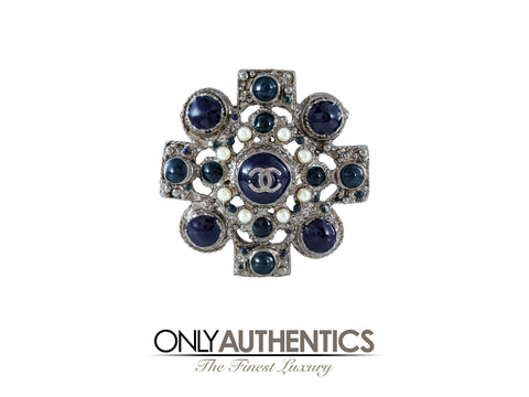 Chanel Silver and Navy Medallion Brooch Pendant
