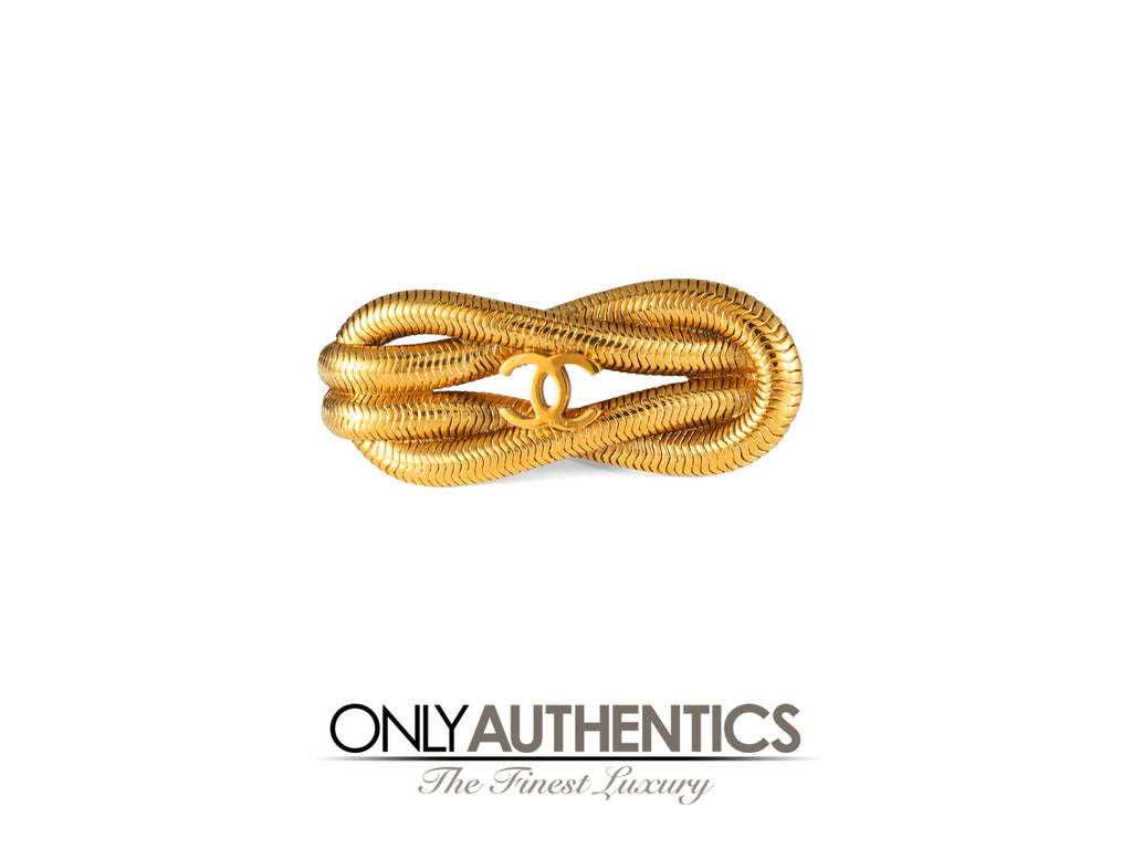 Chanel Gold Knotted Snake Chain Brooch