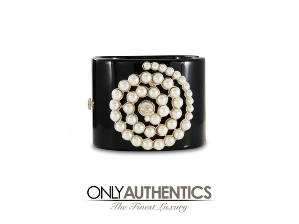 Chanel Black Resin with Spiral Pearl Cuff