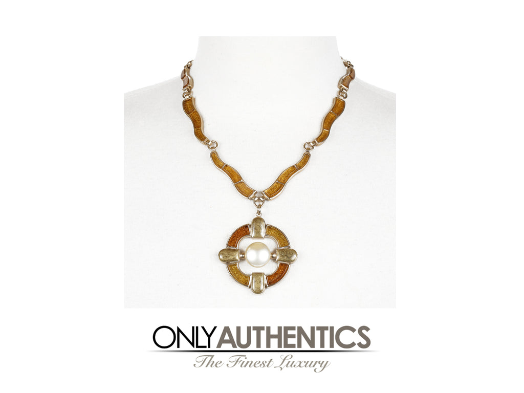 Chanel Gold Pearl Medallion Runway Necklace