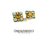 Chanel Square Aqua and Yellow Gripoix Clip On Earrings