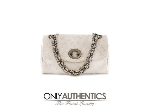 Chanel White Topstitched Leather Flap Bag w/ Gunmetal