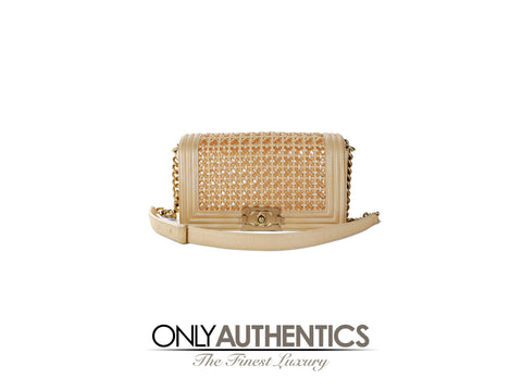 Chanel Beige Woven Leather Runway Boy Bag