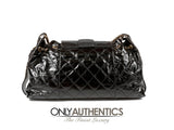 Chanel Black Calfskin and Stingray Jumbo Accordion Bag