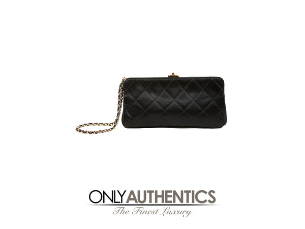 Black Satin Quilted Clutch Wristlet