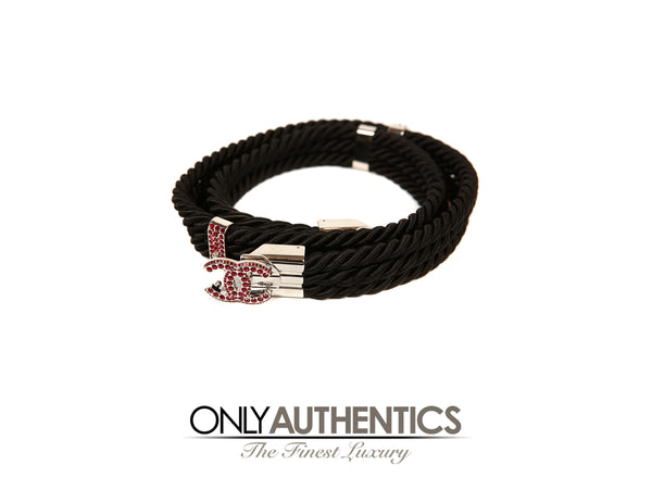 Chanel Black Rope Belt with Ruby CC Buckle