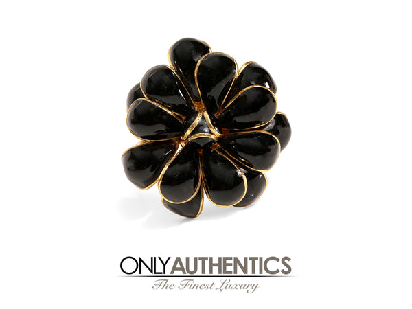 Chanel Black Vintage Gripoix Camellia Flower Pin